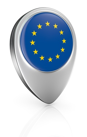 one pointer icon with the flag of Euro (3d render) photo