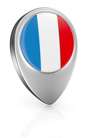 pointer emblem: one pointer icon with the flag of France (3d render) Stock Photo