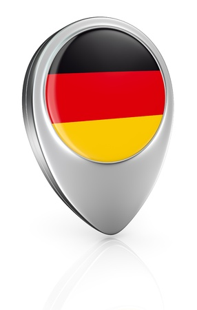 one pointer icon with the flag of Germany (3d render) photo