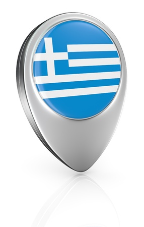 one pointer icon with the flag of Greece (3d render) photo