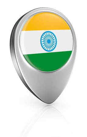 flag pin: one pointer icon with the flag of India (3d render) Stock Photo