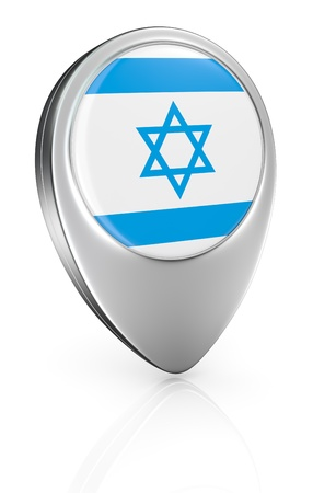 one pointer icon with the flag of Israel (3d render) photo