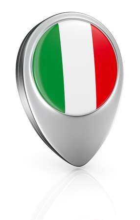 one pointer icon with the flag of Italy (3d render) photo