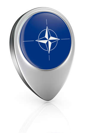 nato: one pointer icon with the flag of Nato (3d render)
