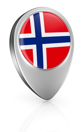 3d button: one pointer icon with the flag of Norway (3d render)