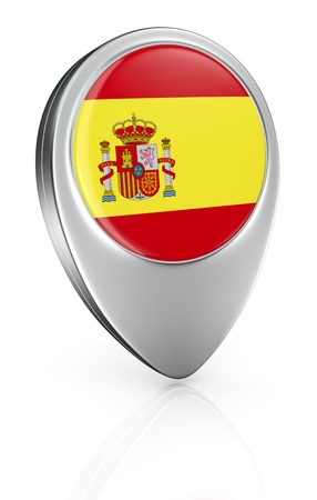 pointer emblem: one pointer icon with the flag of Spain (3d render) Stock Photo