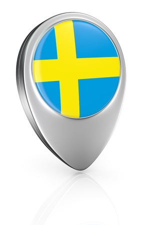 one pointer icon with the flag of Sweden (3d render) photo