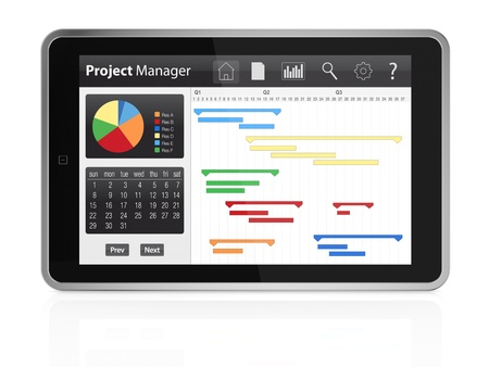 timescale: one tablet pc with project manager software and gantt chart (3d render) Stock Photo