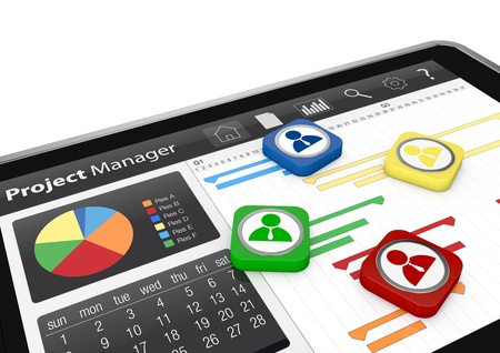 method: one tablet pc with a gantt chart and businessman icons (3d render)