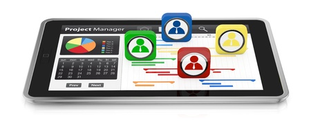gantt: one tablet pc with a gantt chart and businessman icons (3d render)