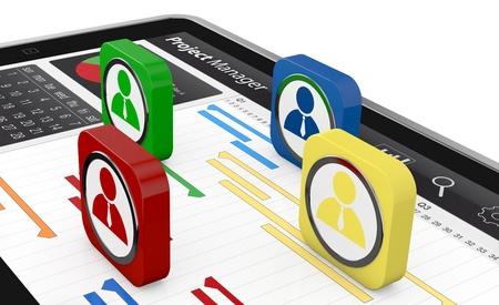 gestion documental: un tablet pc con un diagrama de Gantt y los iconos de negocios (3d render)