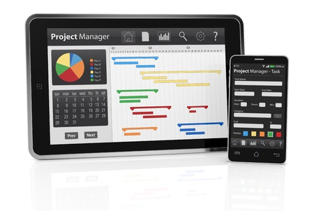 gantt: one tablet pc and a cellphone with project manager software and gantt chart (3d render)