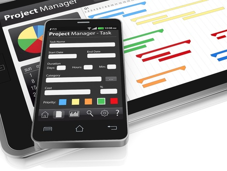 timescale: one tablet pc and a cellphone with project manager software and gantt chart (3d render)