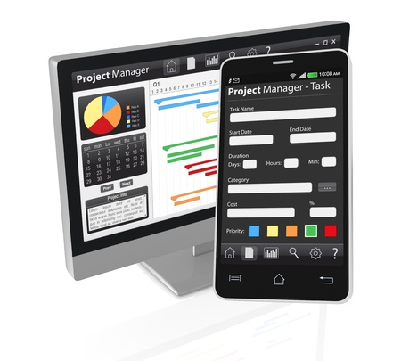 gantt: one computer desktop and a cellphone with project manager software and gantt chart (3d render)