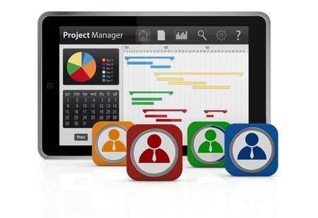 ein Tablet-PC mit einem Gantt-Diagramm und Geschäftsmann icons (3d render)