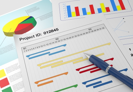 closeup view of paper documents with gantt chart and financial charts, and a pen (3d render)