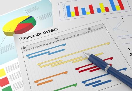 Nahaufnahme Ansicht von Papierdokumenten mit Gantt-Diagramm und finanzielle Diagramme und einem Stift (3d render)