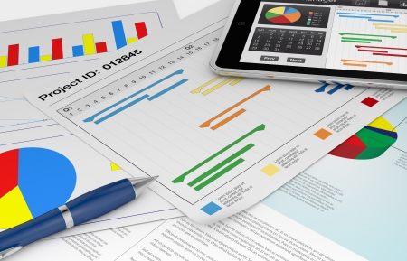 one tablet pc with a project manager app and documents with gantt and financial charts (3d render) Stock Photo