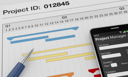 project manager: one cellphone with a project manager app and documents with gantt charts (3d render)