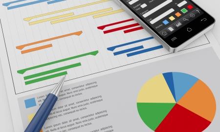 ein Mobiltelefon mit einem Projektleiter App und Dokumente mit Gantt-und Finanz-Charts (3d render) Standard-Bild