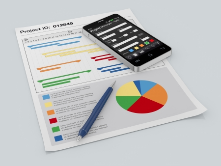 gantt: one cellphone with a project manager app and documents with gantt and financial charts (3d render) Stock Photo