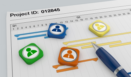 business project: closeup view of a paper document with gantt chart, a pen, and businessman icons (3d render)