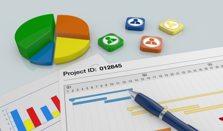 closeup view of a paper document with gantt chart, a pen, and financial charts (3d render)