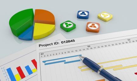 Nahaufnahme Ansicht eines Papierdokument mit Gantt-Diagramm, ein Stift und Finanz-Charts (3d render)