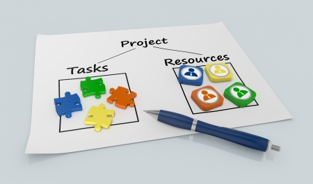 schedule reports: paper document with a project diagram and icons (3d render)