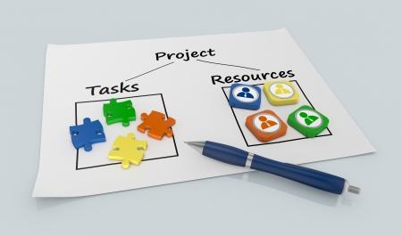Papierdokument mit einem Projekt-Diagramm und Symbole (3d render)