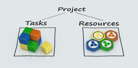 schedule reports: project plan diagram with icons (3d render) Stock Photo