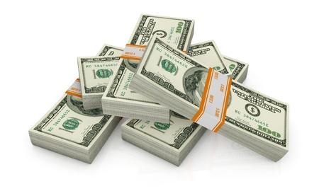 cash money: algunas pila de d�lares americanos (3d render) Foto de archivo