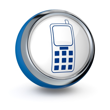 phone button: one icon with a cell phone (3d render) Stock Photo