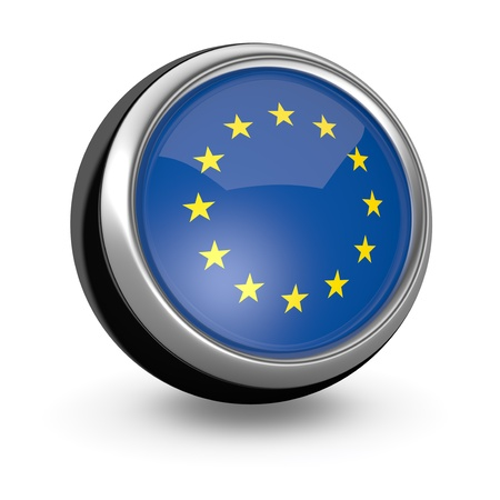 one sphere icon with the flag of Euro (3d render) photo