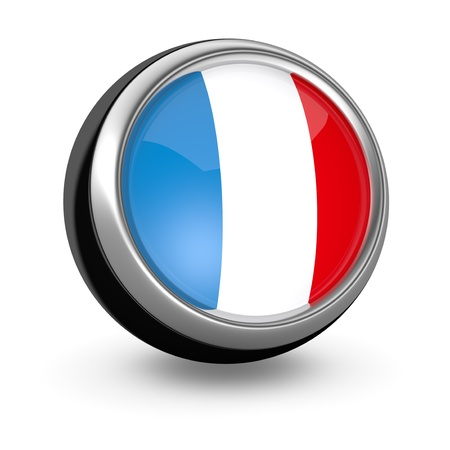 one sphere icon with the flag of France (3d render) photo