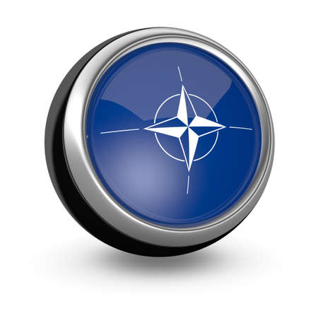 nato: one sphere icon with the flag of Nato (3d render) Editorial