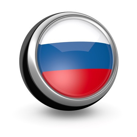 one sphere icon with the flag of Russia (3d render) photo