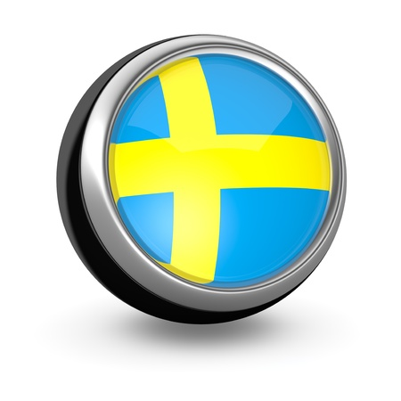 sweden flag: one sphere icon with the flag of Sweden (3d render)