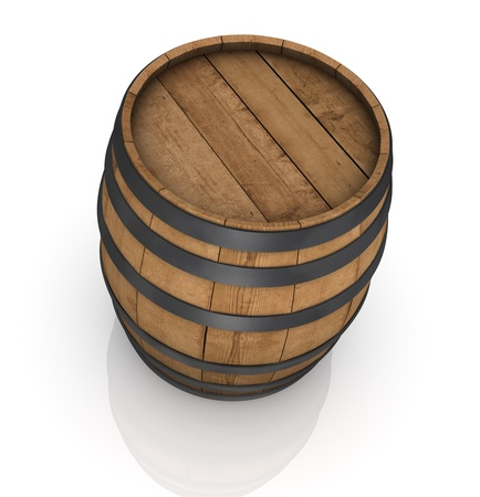 bourbon: one wooden barrel on white background (3d render)