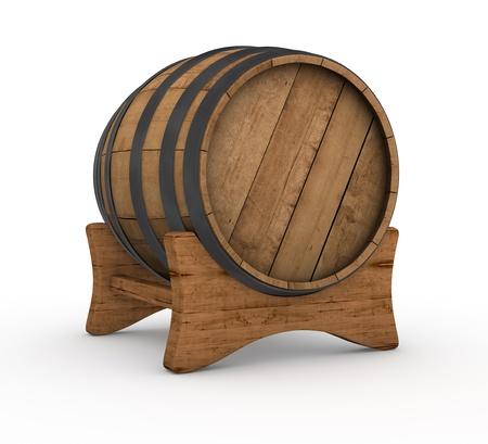 destilacion: un barril de madera en el fondo blanco (3d render)