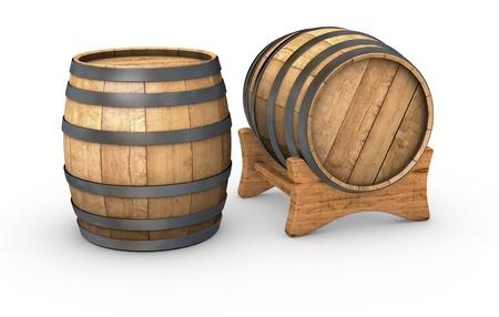 wine barrel: two wooden barrels on white background (3d render)