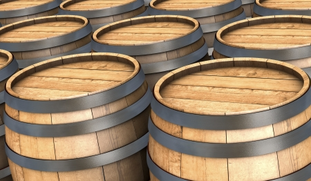 bourbon: closeup of many wooden barrels (3d render)