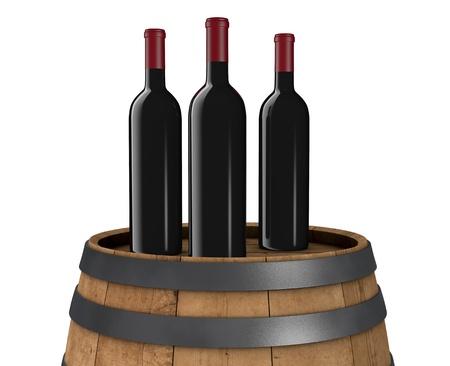 three wine bottles on a wooden barrel (3d render) photo