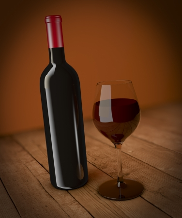 one bottle and glass of red wine (3d render) photo