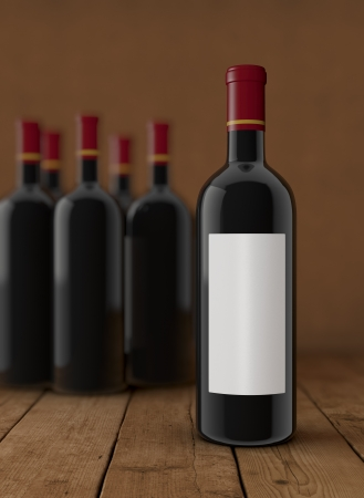 some bottles of red wine. One bottle with a white label for custom text or image (3d render) photo