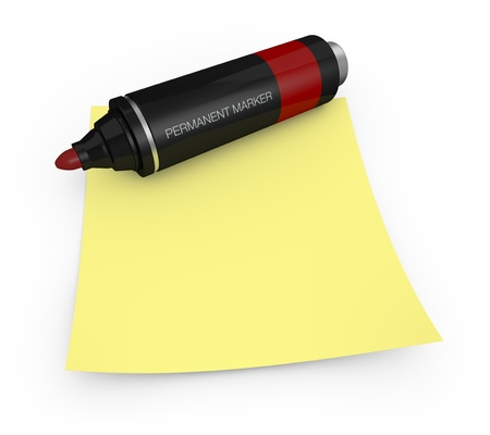 yellow pages: one permanent marker with a yellow sticky note (3d render) Stock Photo