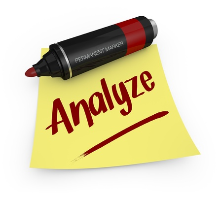 un marqueur permanent avec une note collante jaune et le texte: analyser (rendu 3D)