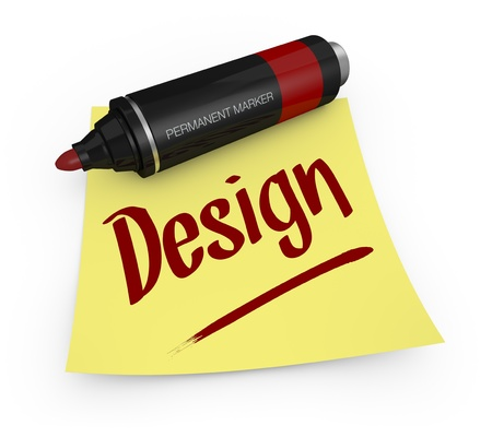 permanent: one permanent marker with a yellow sticky note and text: design (3d render) Stock Photo