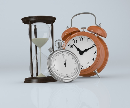 front view of an hourglass  with a analog clock and a stopwatch (3d render) photo