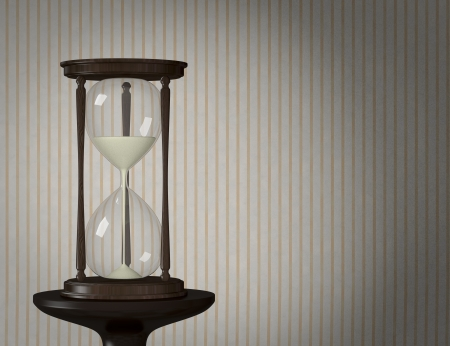 one vintage wooden hourglass with a wallpaper background (3d render) photo